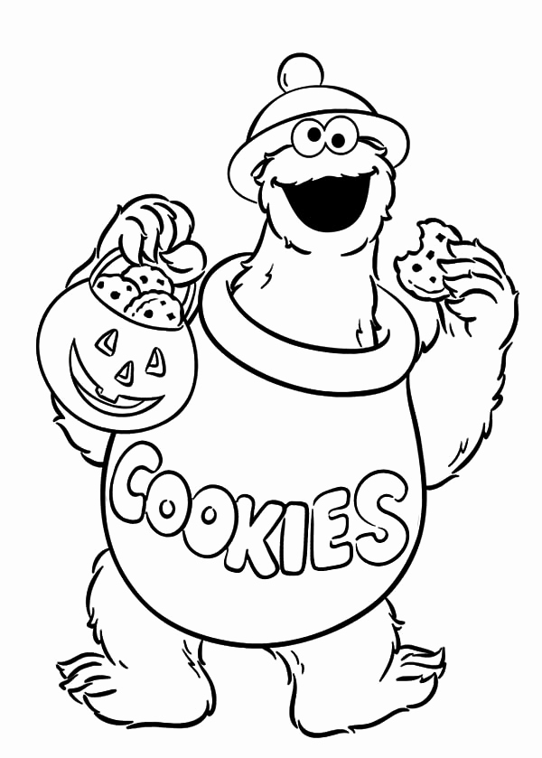 600x839 Cookie Monster Coloring Pages Leversetdujourfo Elmo Halloween