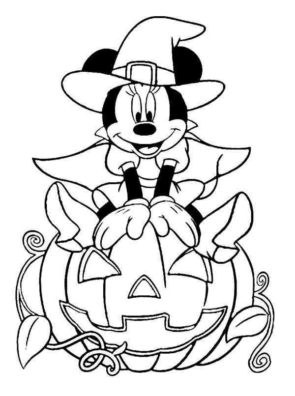 600x806 Disney Halloween Minnie Coloring Sheet For Kids Picture