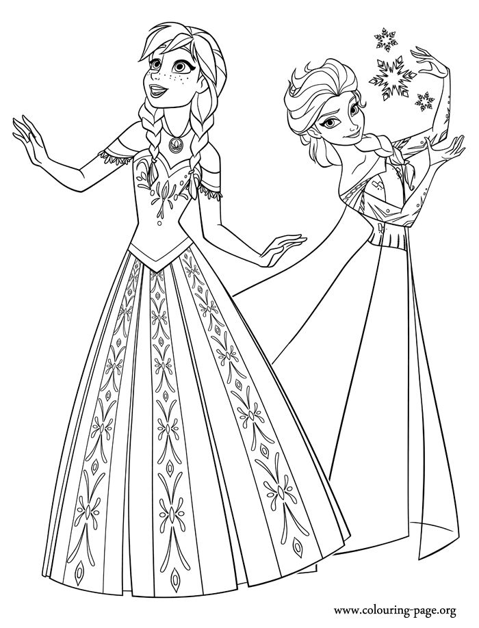 Elsa And Anna Coloring Pages Printable