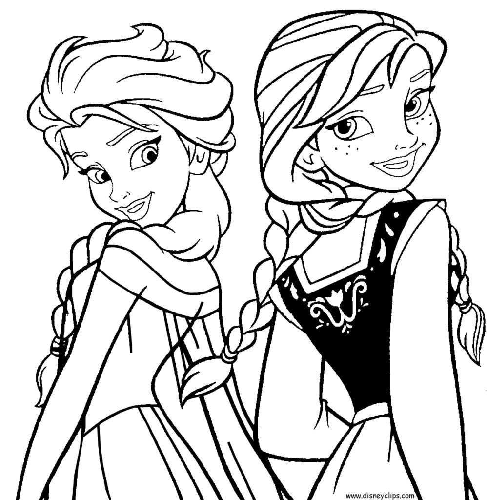 998x1024 Anna And Elsa Coloring Pages