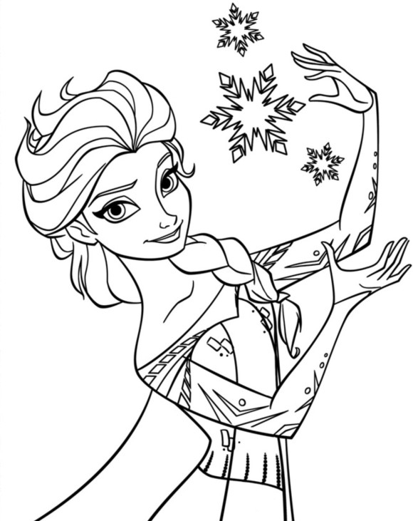 580x731 Coloring Pages Of Elsa From Frozen Elsa Snowflake Coloring Page