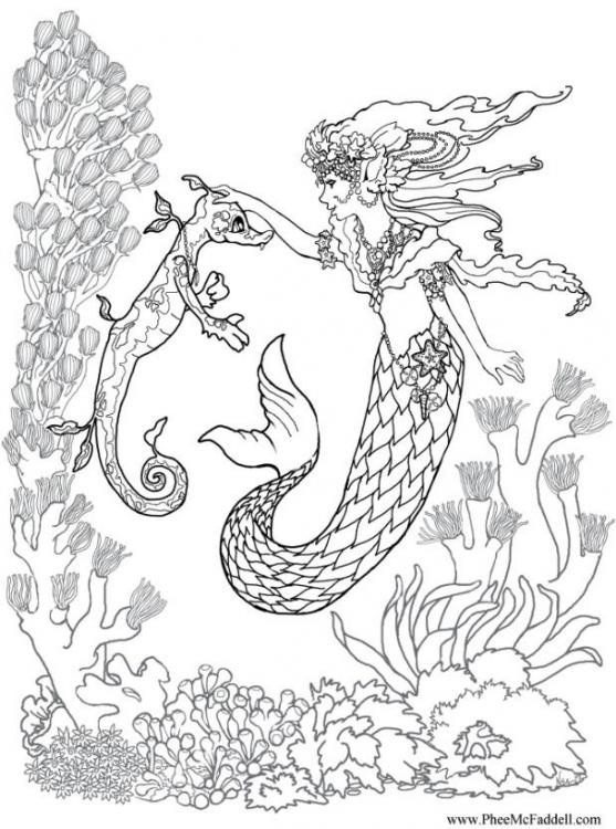 Elsa Mermaid Coloring Pages