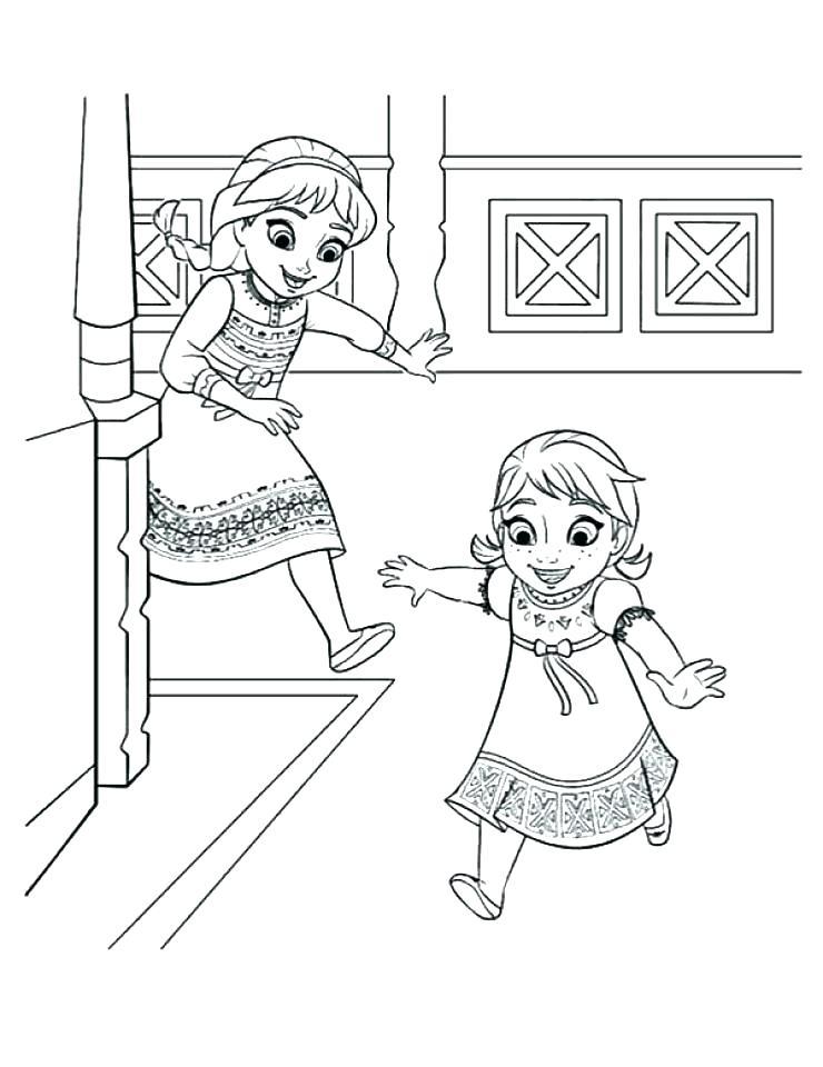 Elsa And Anna Coloring