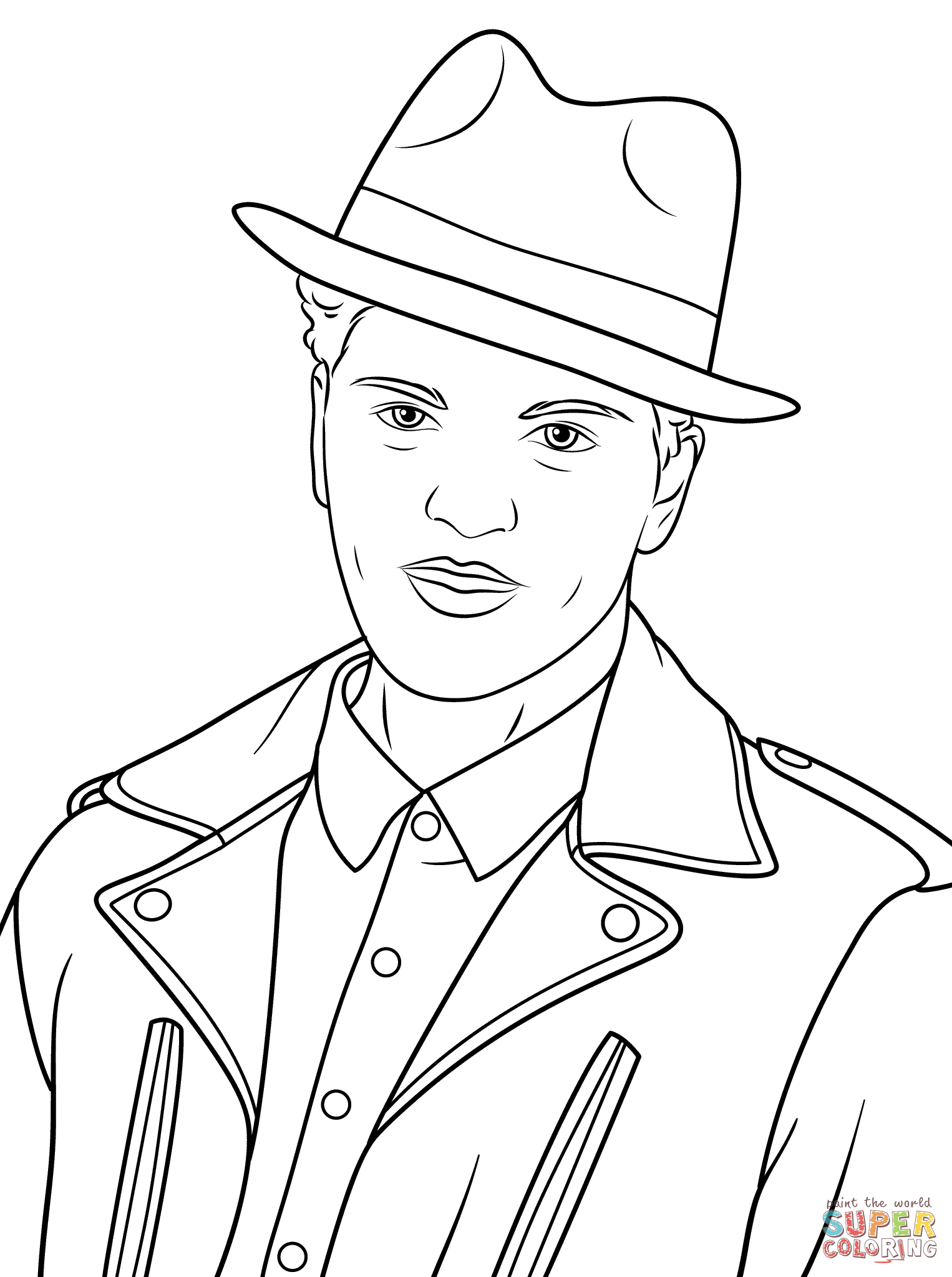 1526x2046 Bruno Mars Coloring Page Free Printable Pages Stunning Elvis