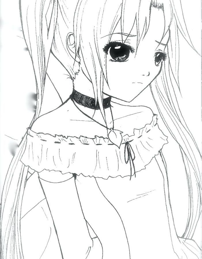 701x900 Fabulous Cat Anime Girl Coloring Pages To Print Emo And For Adults