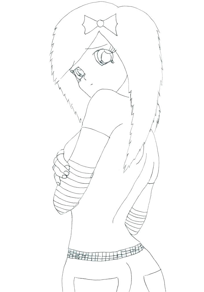 Emo Anime Coloring Pages at GetDrawings | Free download