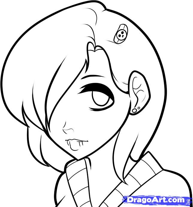 644x691 Emo Anime Love Coloring Pages How To Draw An Face Faces Step