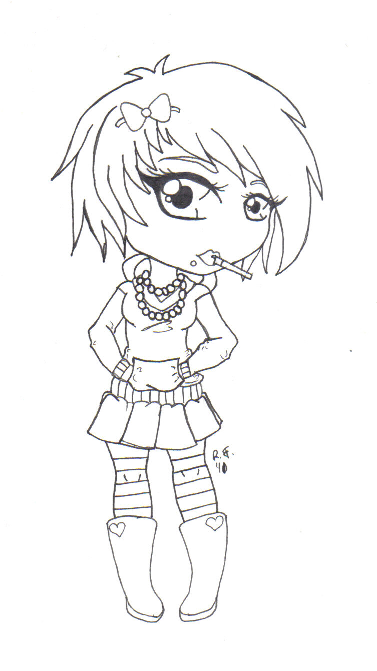 753x1341 Anime Girl Coloring Pages Emo