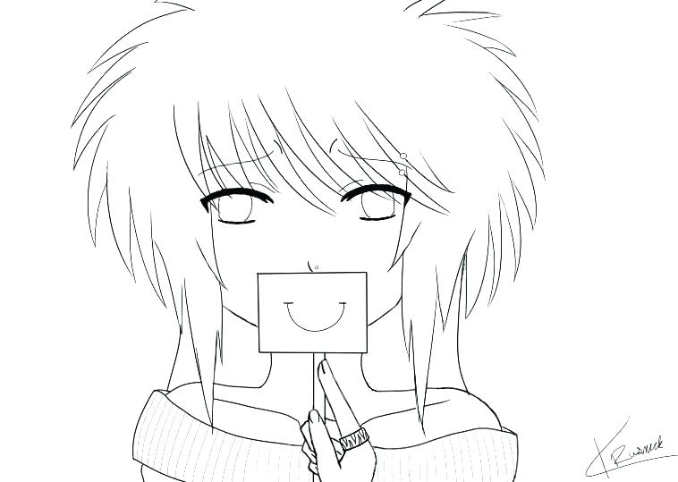 758x539 Emo Girl Coloring Pages
