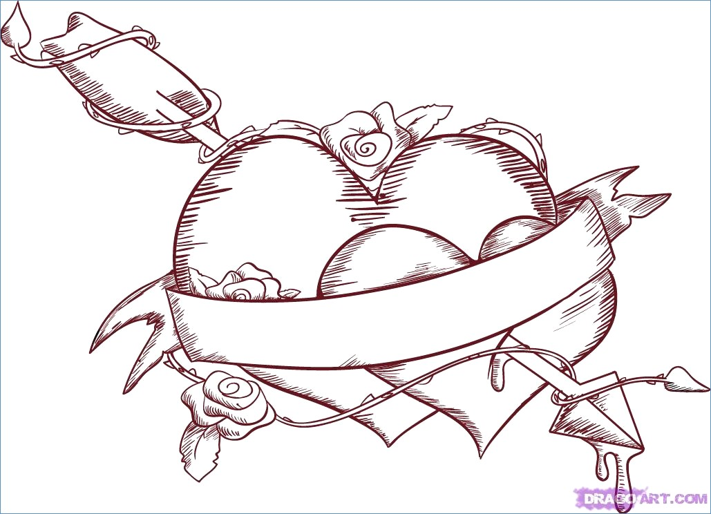 1029x744 Two Loving Hearts Coloring Page