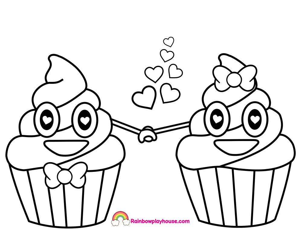 990x765 Poop Emoji Cupcakes In Love Printable Coloring Page Copy
