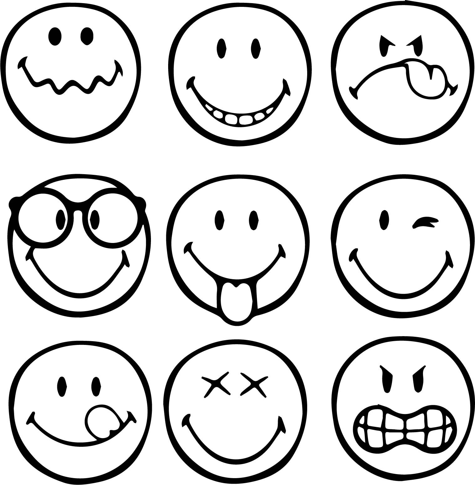 1517x1551 First Graphical Emoticons Smiley Coloring Page Wecoloringpage