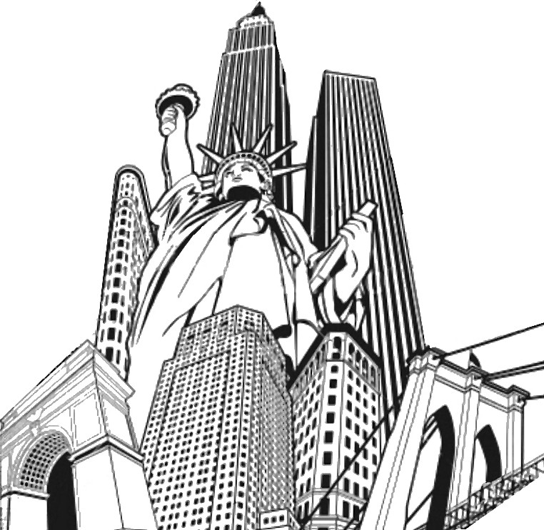 762x743 Adult Coloring Page New York Statue Of Liberty And Buildings