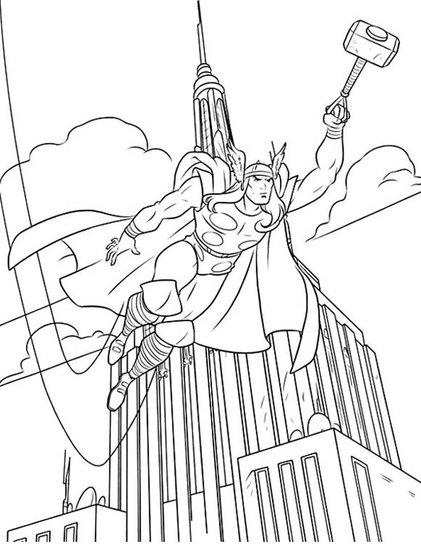 600x776 Thor Over The Empire State Building Coloring Page