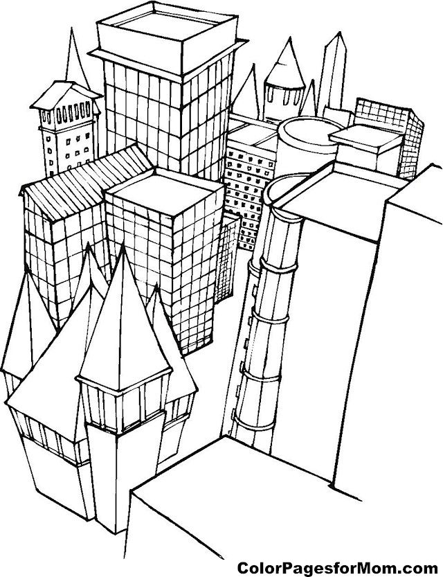 640x833 Top Building Coloring Pages