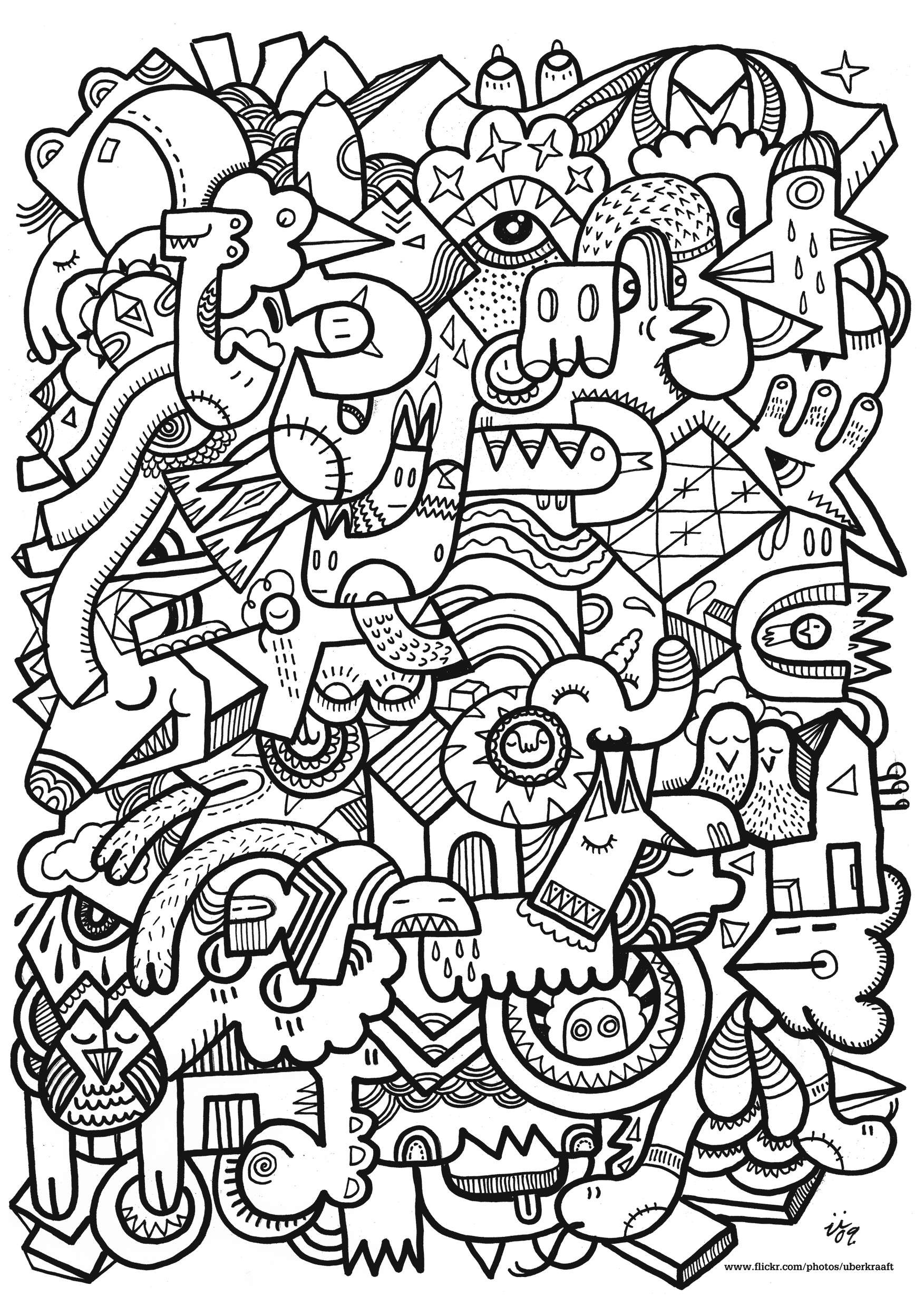 1753x2480 Hard Pattern Coloring Pages