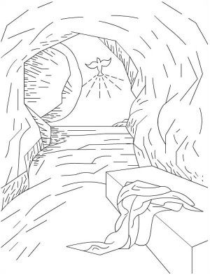 300x393 The Empty Tomb In Jesus Resurrection Coloring Page