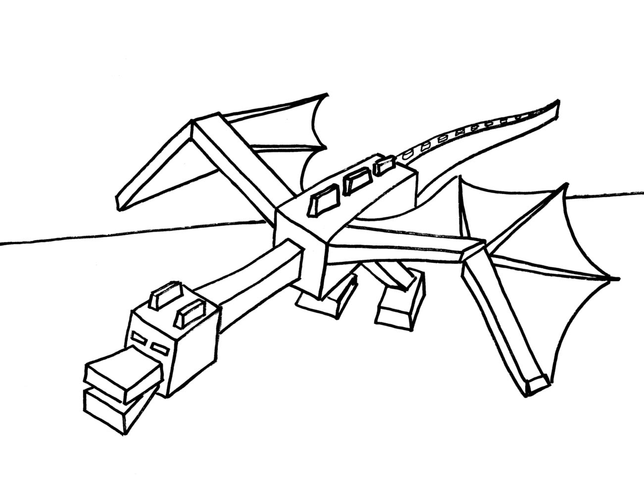 1301x1000 Minecraft Ender Dragon Coloring Pages