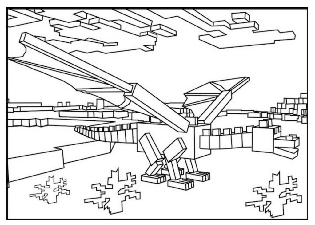 1024x732 Top Minecraft Ender Dragon Coloring Pages For Children