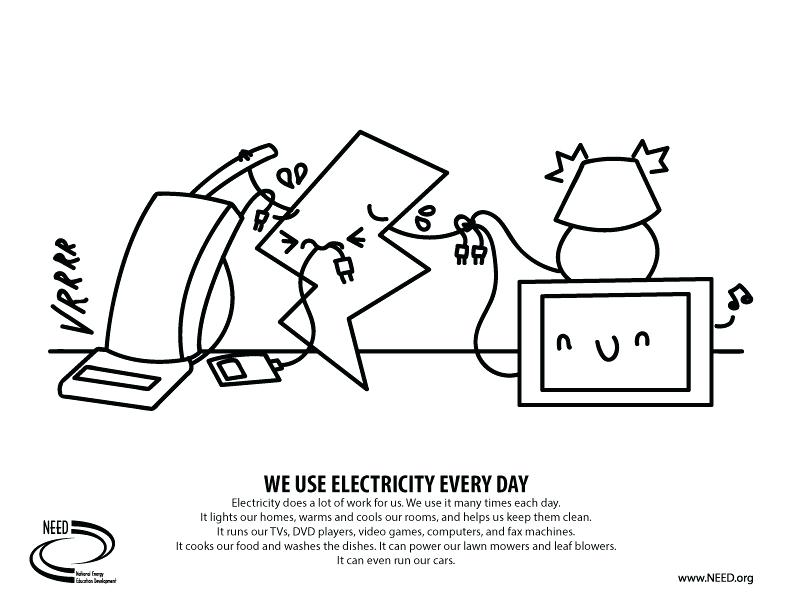 792x612 Coloring Pages Saving Energy Save Electricity Page