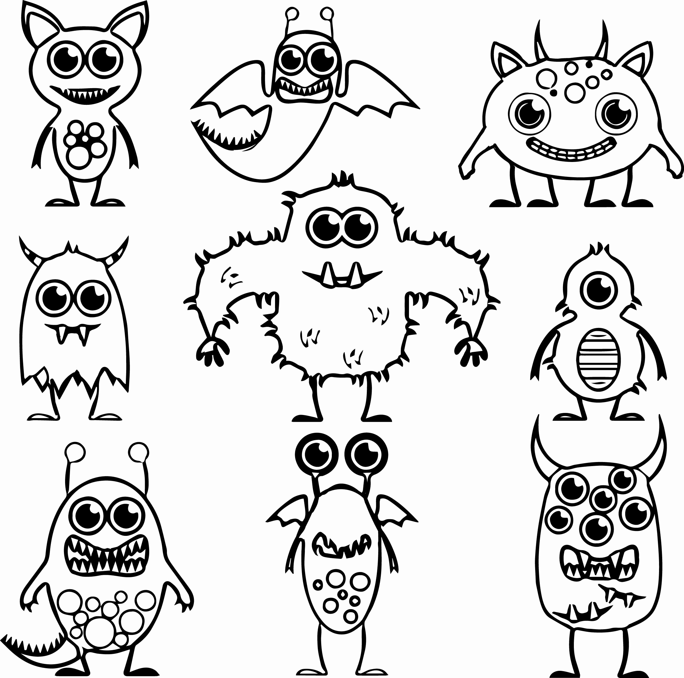 2385x2361 Energy Alien Coloring Pages Photograph Monster Inside Decorations