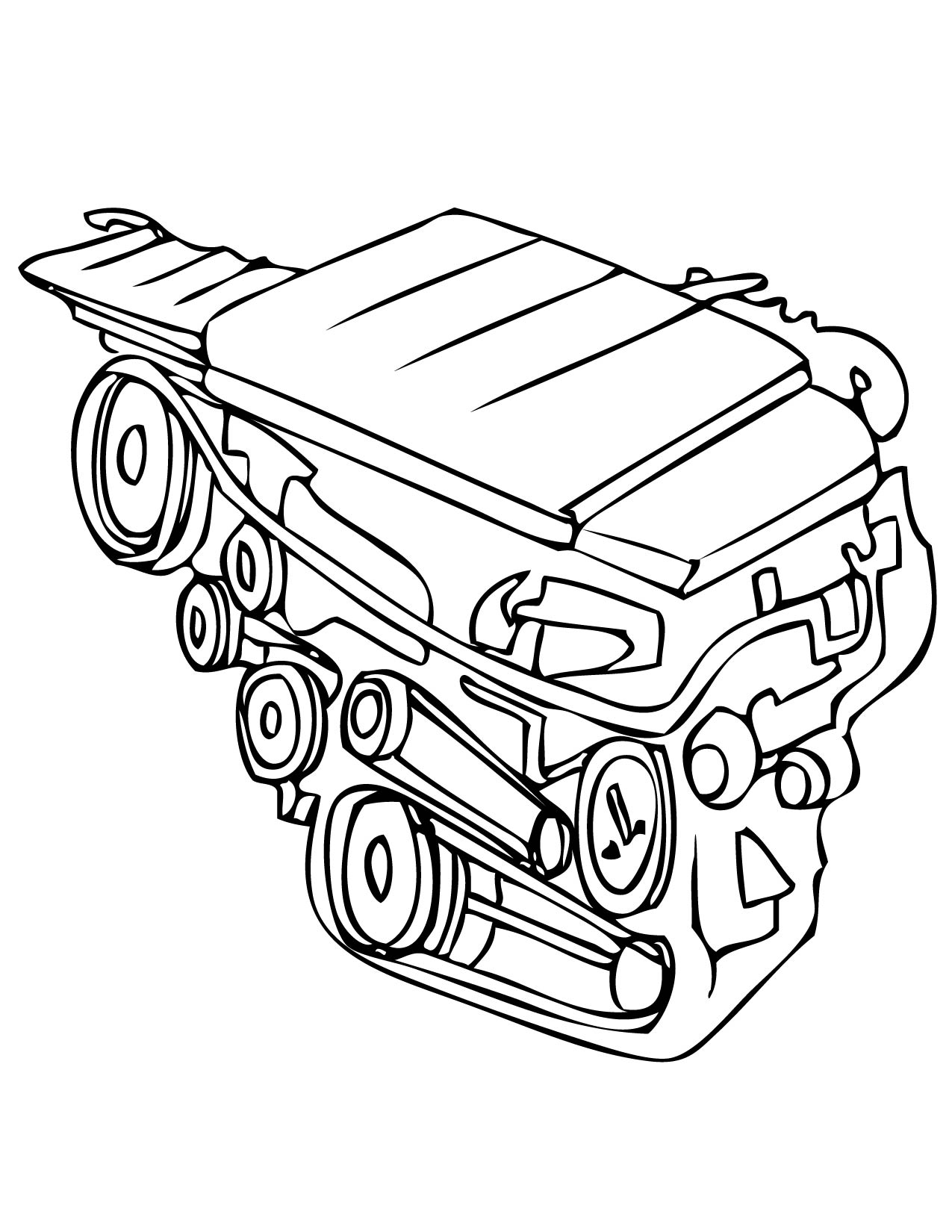1275x1650 Engine Coloring Page