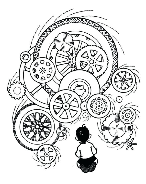 597x750 Engineering Coloring Book With Steampunk Gears Coloring Pages Free