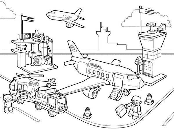 600x443 Lego Duplo Airport Activity Coloring Pages Batch Coloring