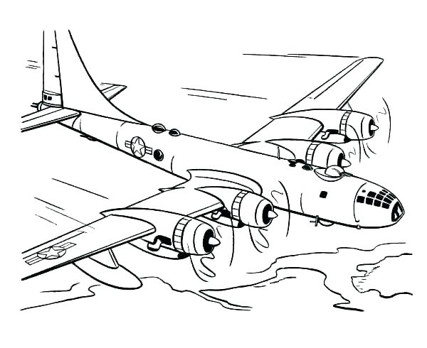 600x490 Airplane Coloring Pages Free