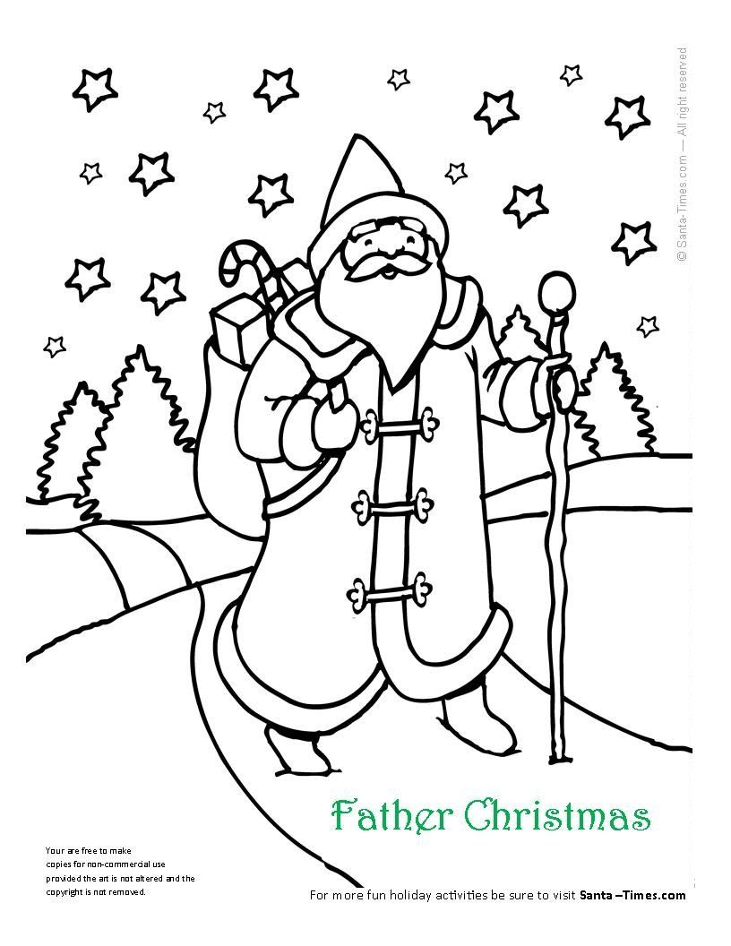 816x1056 Father Christmas Coloring Page