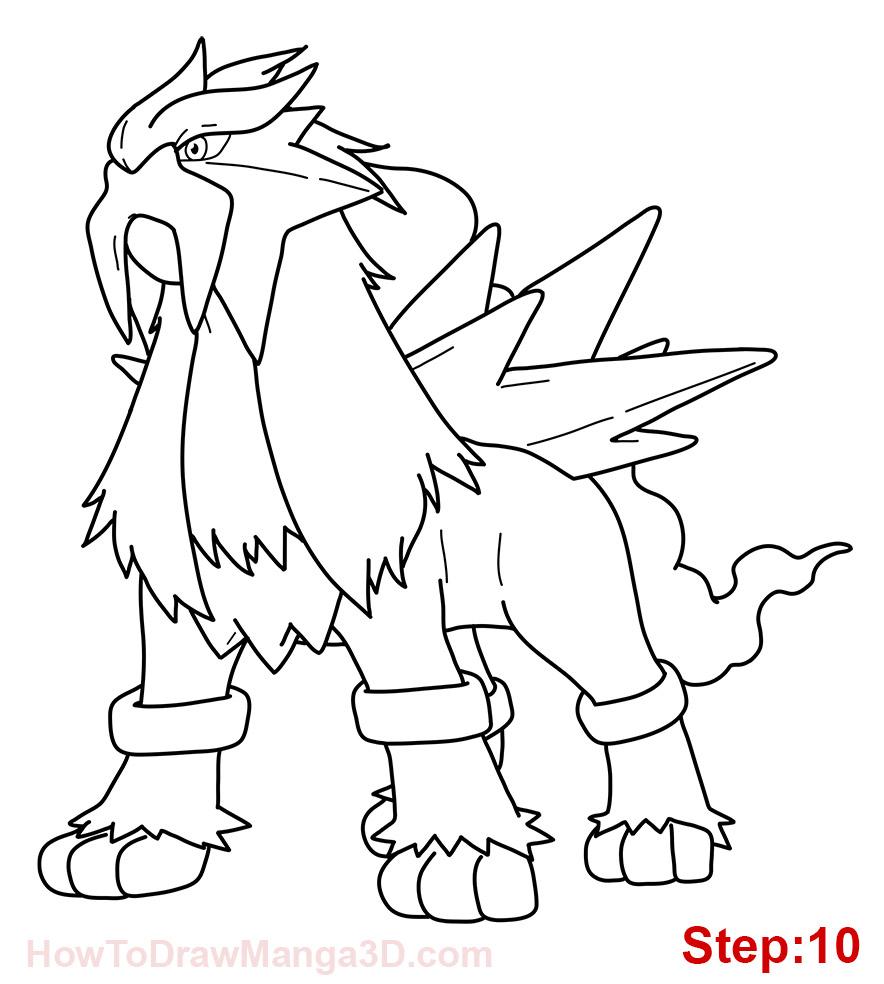 884x984 Pokemon Coloring Pages Raikou