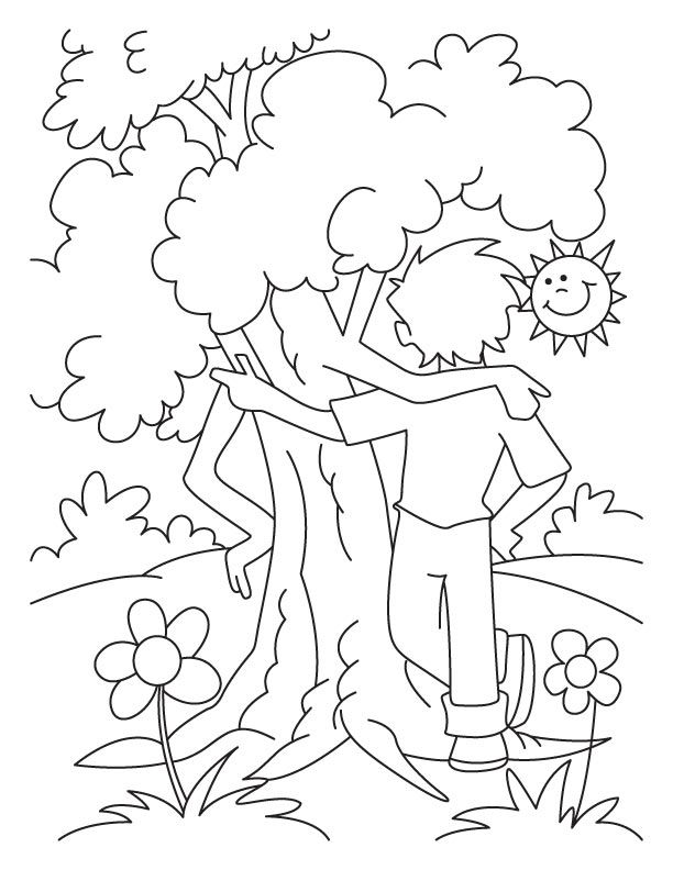 612x792 A Boy Is Celebrating An Arbor Day With The Tree Coloring Page