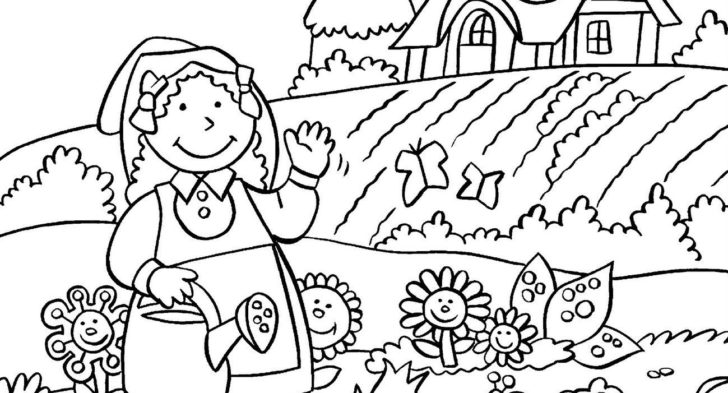 728x393 Coloring Pages Garden Gardening Coloring Page Esl Coloring Pages