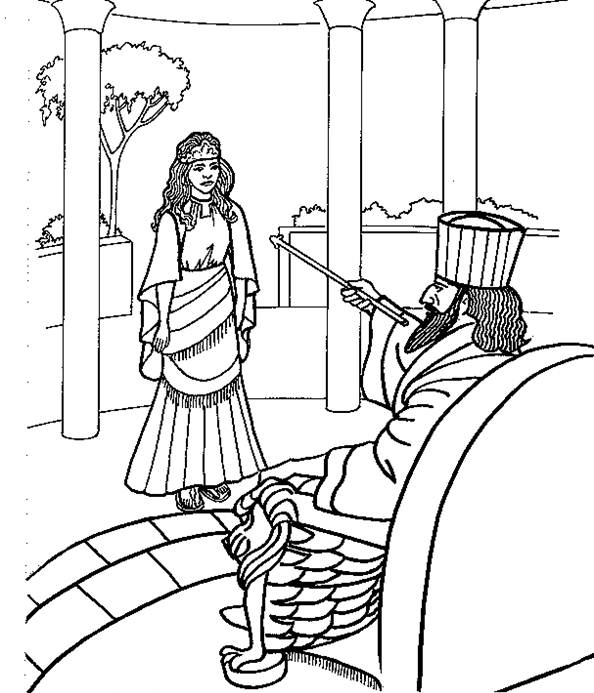 594x693 Coloring Page Of Esther Biblical Holidays Sunday
