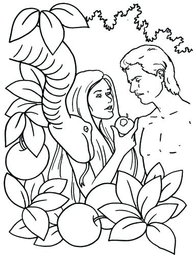 378x500 Adam And Eve In The Garden Coloring Page Adam And Eve Coloring
