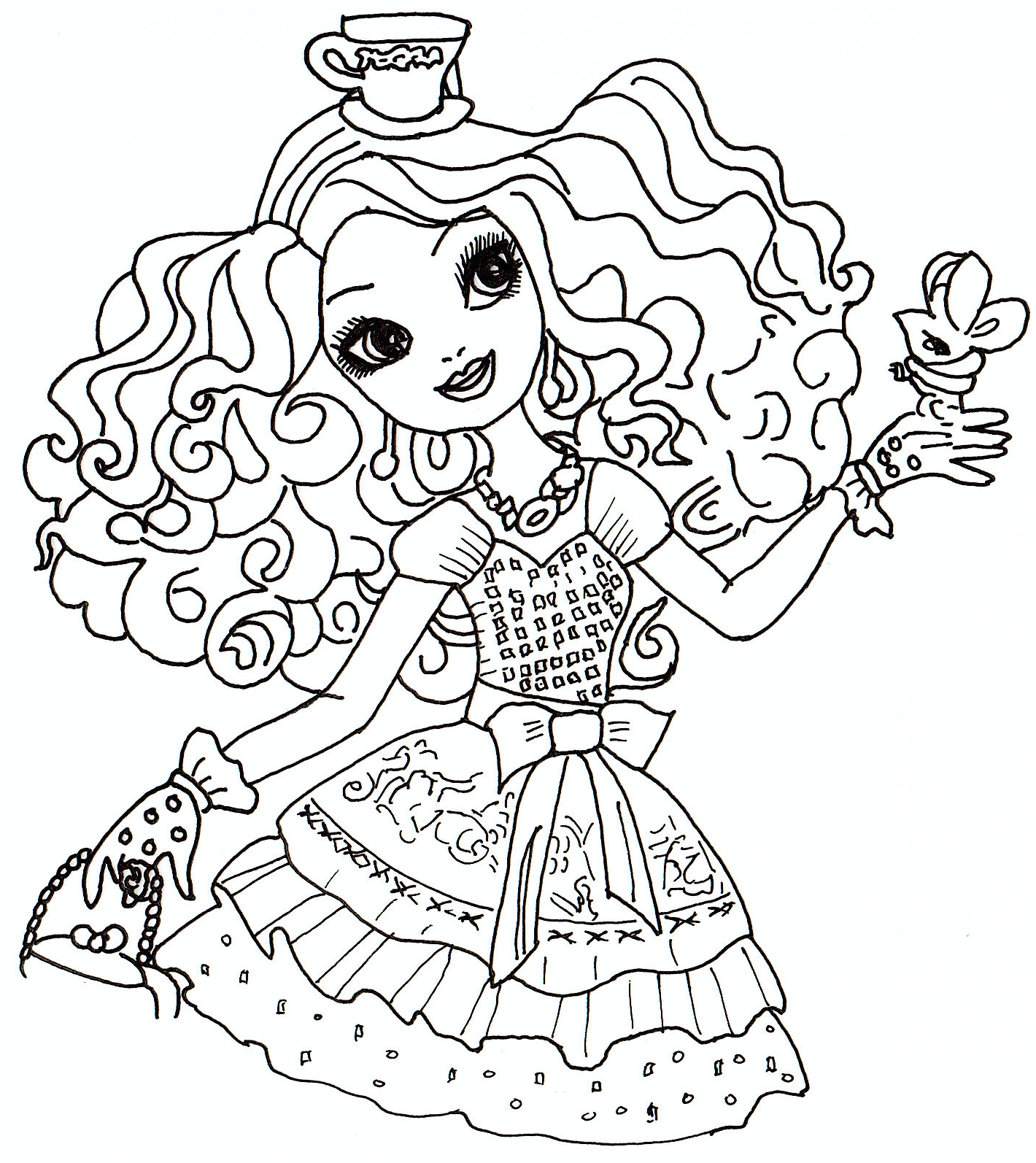 1420x1594 Ever After High Coloring Pages Raven Queen And Apple White