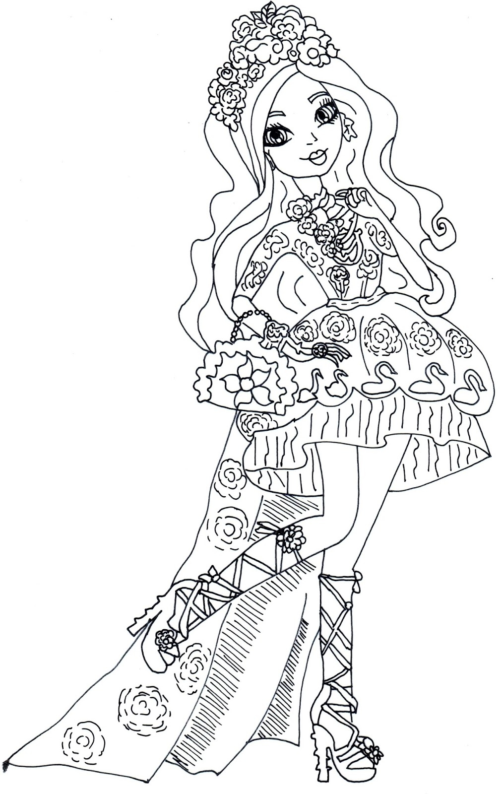 Ever After High Coloring Pages Apple White