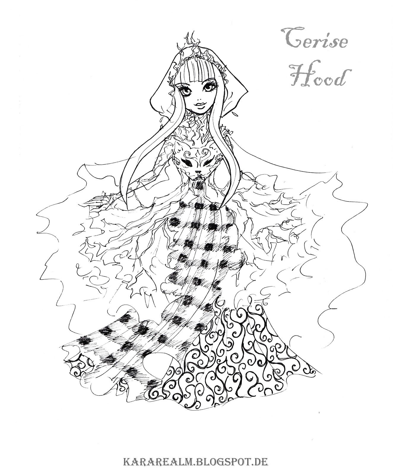 1331x1600 Kara Realm Ever After High Coloring Pages Cerise Hood