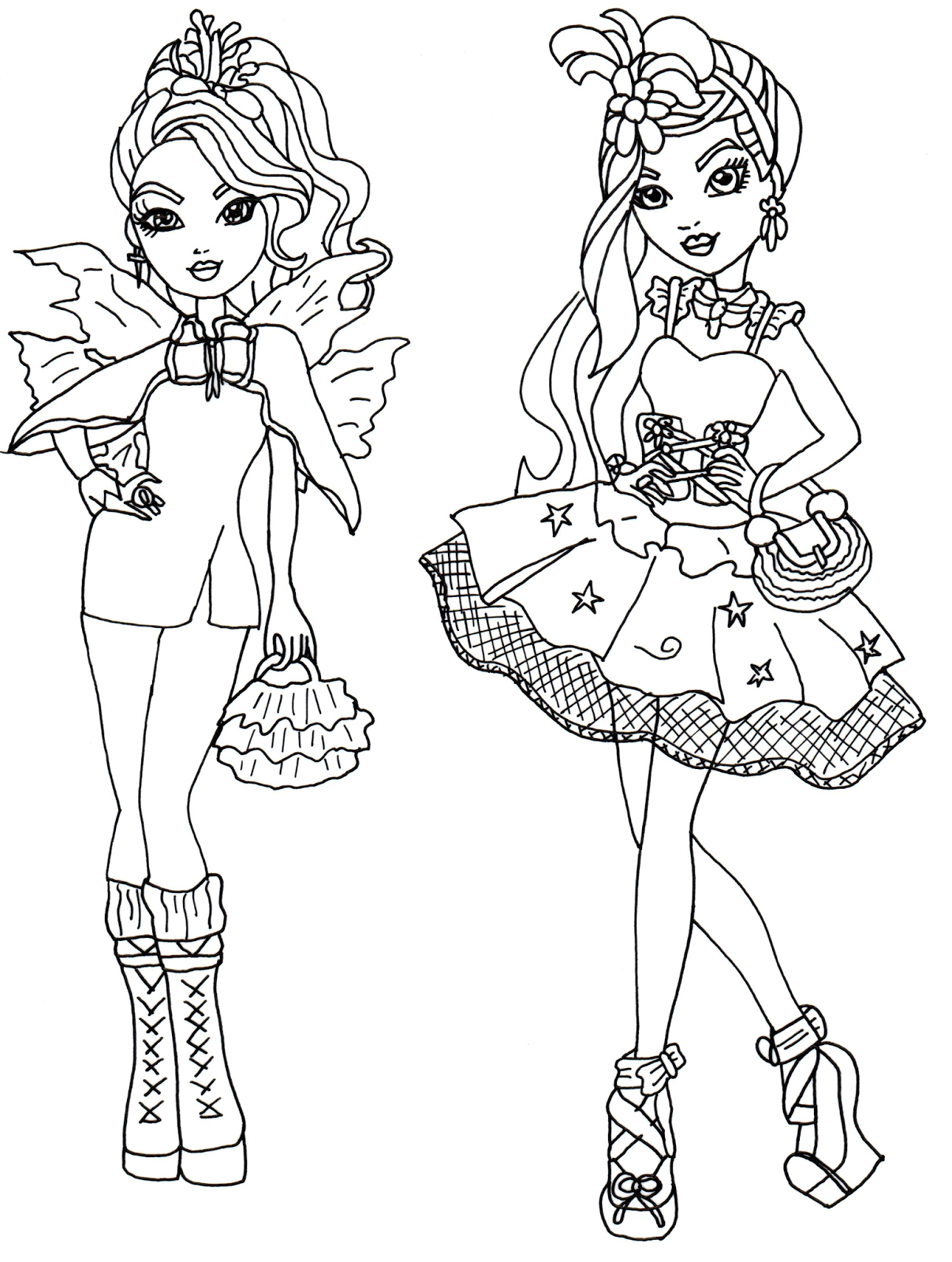 1207x1600 Faybelle Thorn And Duchess Swan Ever After High Coloring Page
