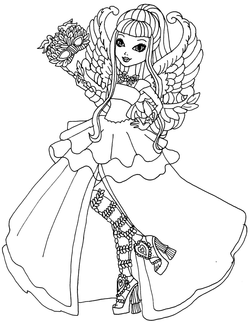 1024x1315 Fresh Ever After High Lizzie Hearts Coloring Pages