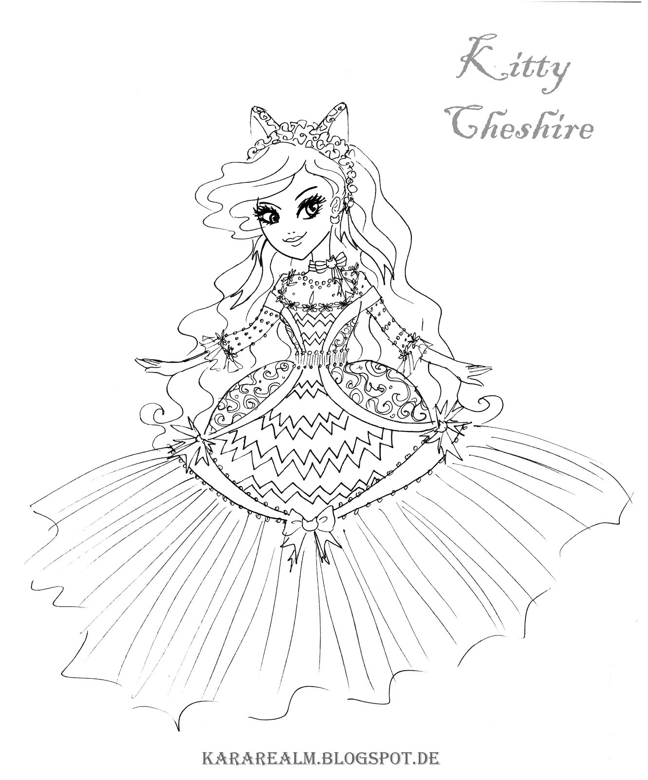 1331x1600 Ever After High Kitty Cheshire Coloring Page Pages
