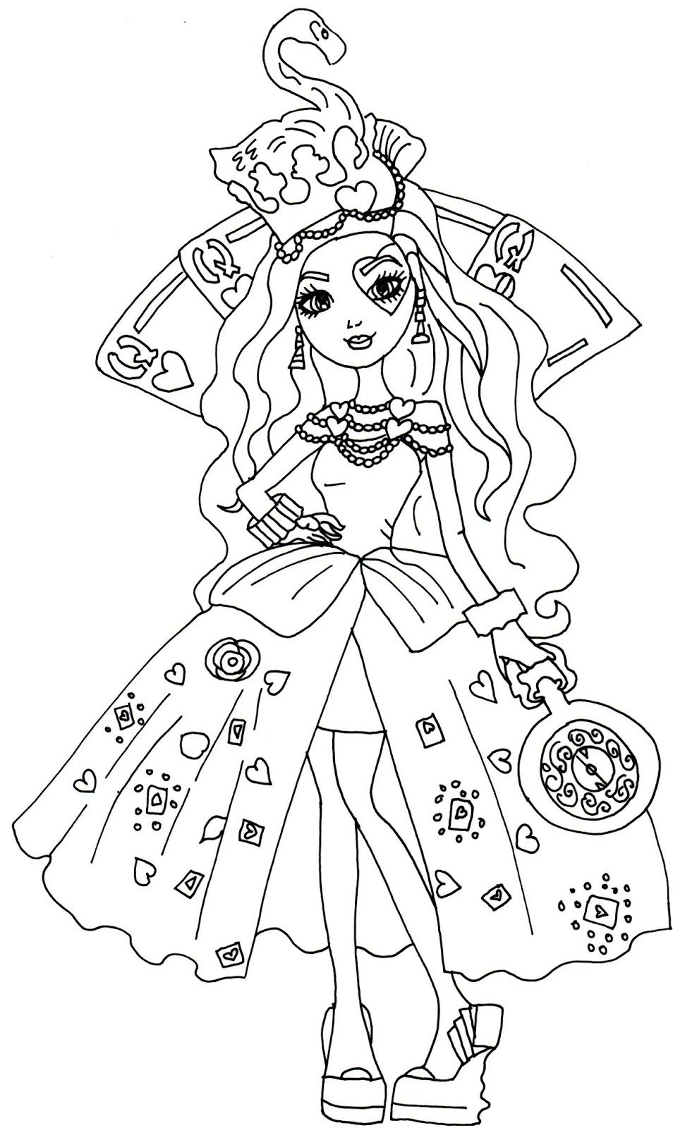 971x1600 Fascinating Printable Ever After High Coloring Pages Lizzie Hearts