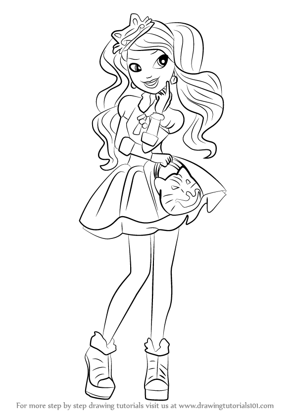 596x843 Ever After High Coloring Pages Kitty Cheshire Learn How To Draw