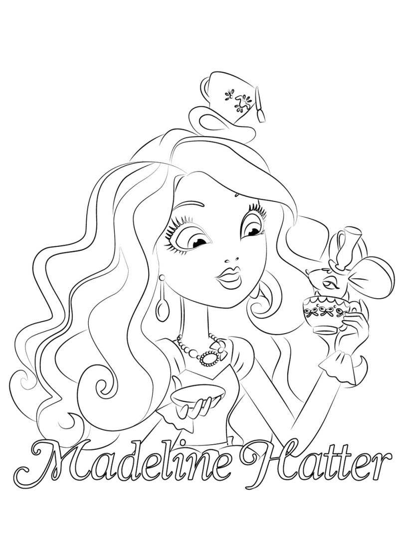 794x1123 Ever After High Coloring Pages Madeline Hatter