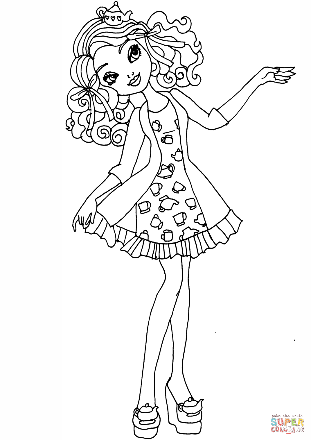 Ever After High Coloring Pages Madeline Hatter At Getdrawings Com
