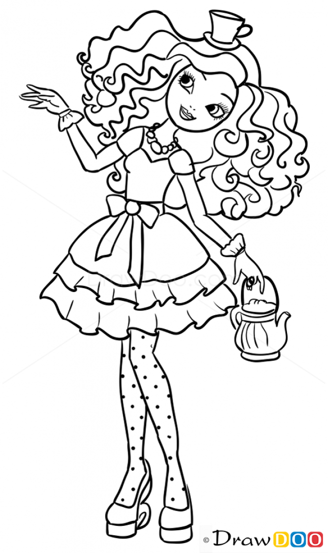 665x1121 How To Draw Ever After High Madeline Hatter
