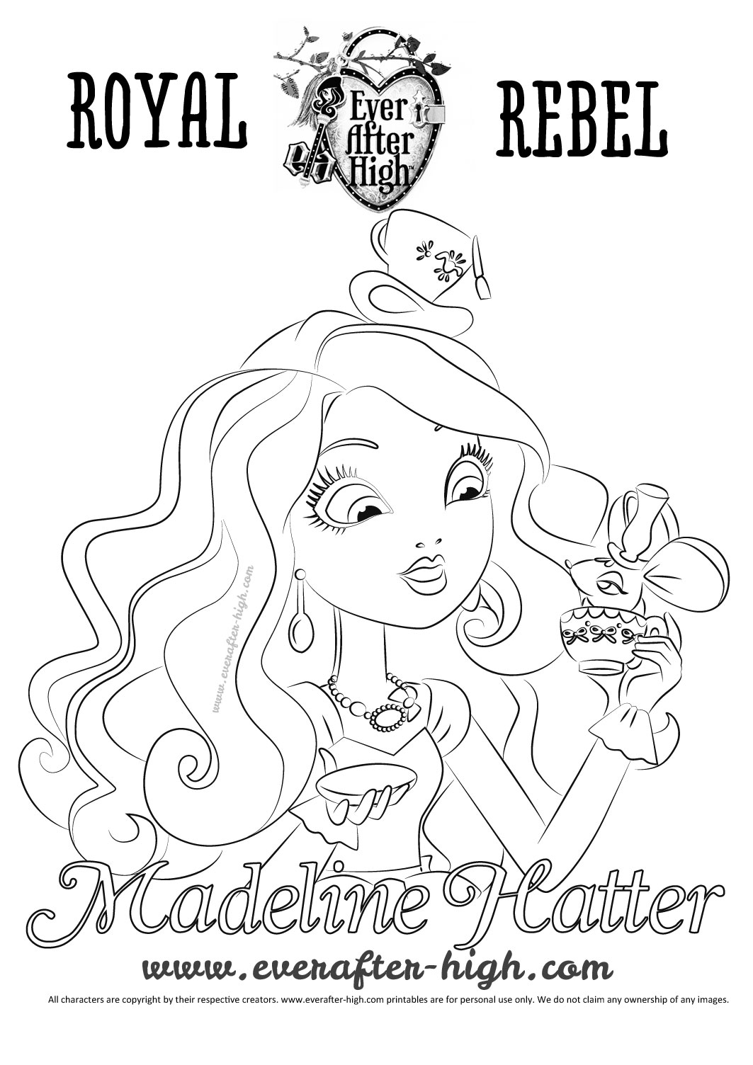 1063x1504 Madeline Hatter S Face Coloring Page Ever After High Remarkable
