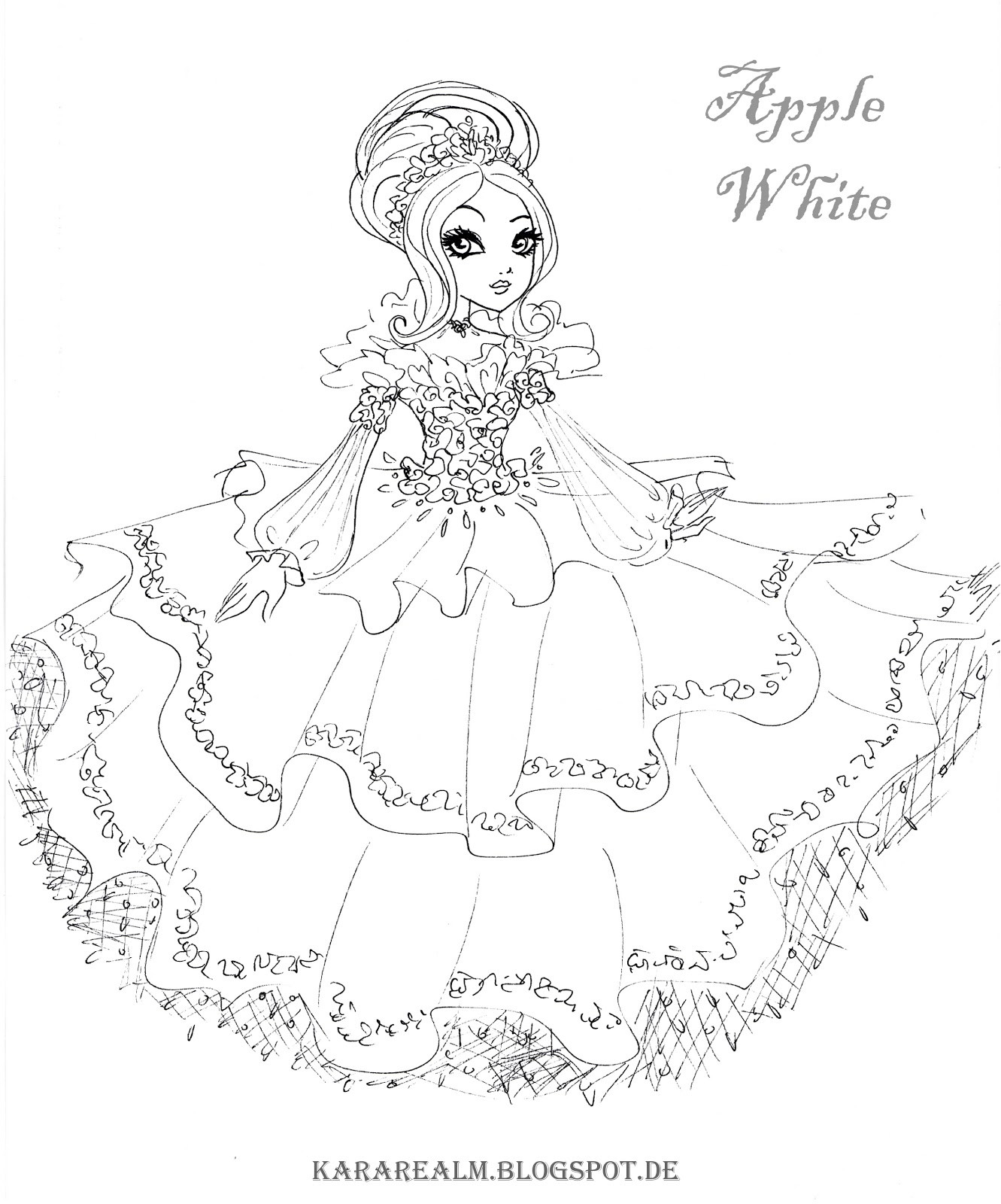 1331x1600 Ever After High Coloring Pages Raven Throughout Apple White Acpra