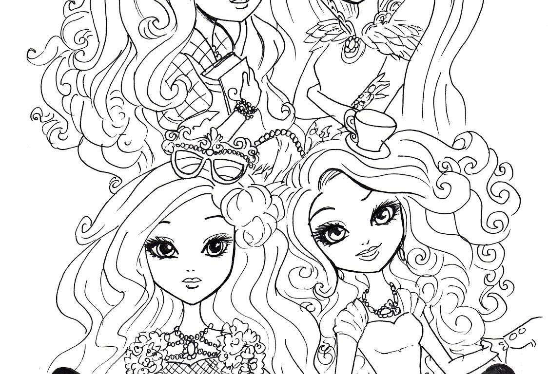 1124x768 Coloring For Kids Ever After High Pages Breathtaking Cerise Hood