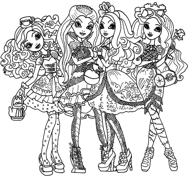 600x564 Ever After High Ready To Go To Party Coloring Pages Ever After